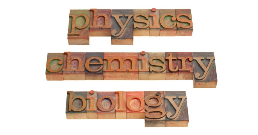 physics chemistry biology spelled out in printer's letters